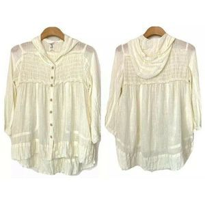FREE PEOPLE Linen Hooded Button Up Jacket Top XS